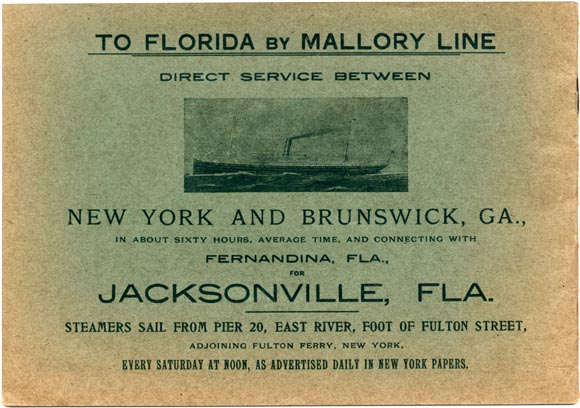 Mallory Line broadside for weekly steamer from New York to Brunswick, Georgia and Jacksonville, Florida