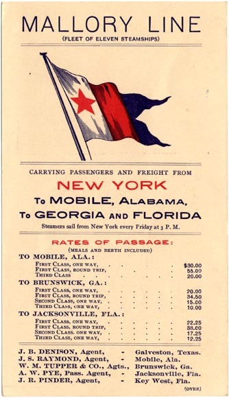 Mallory Line poster advertising that they have eleven steamships carrying passengers and freight from New York to Mobile, Alabama, to Georgia and Florida